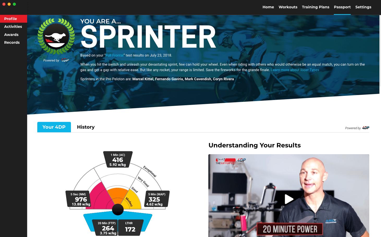 sufferfest, sprinter, profile, passport