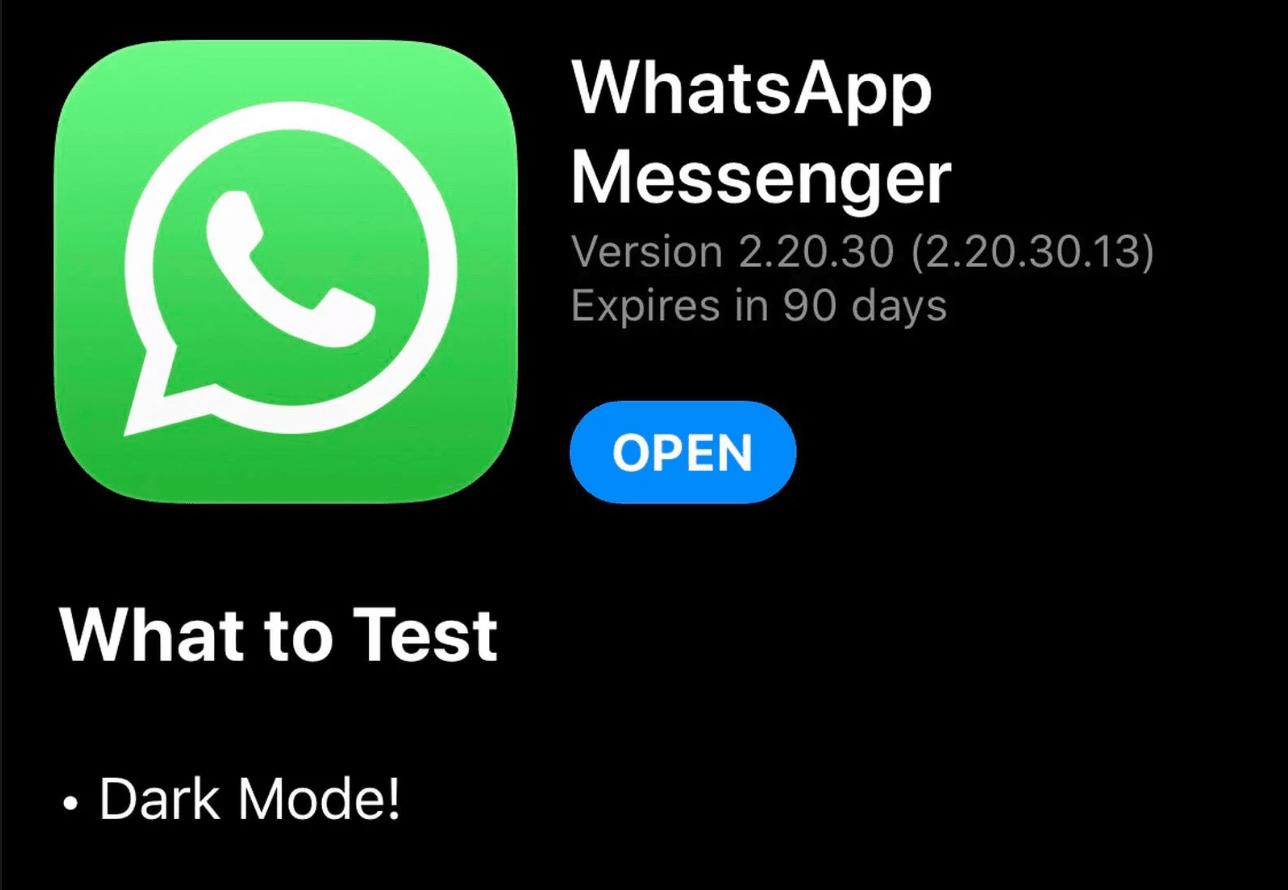 whatsapp, dark mode