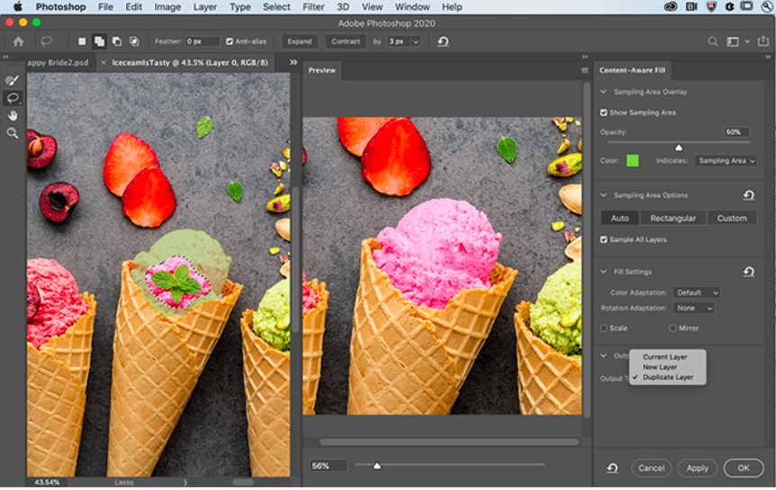 Adobe photoshop's new content aware fill feature