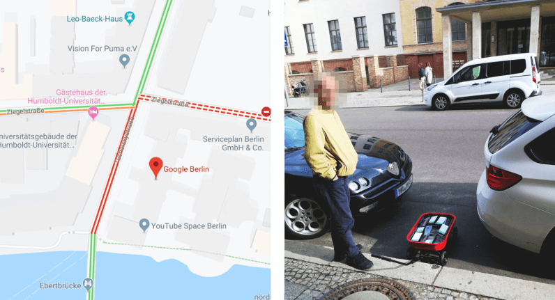 Artist fakes Google Maps traffic jam with 99 phones