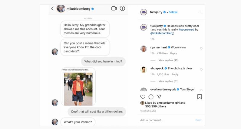 mike bloomberg, memes, instagram
