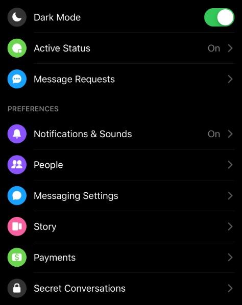 Menu Options in Updated Facebook Messenger