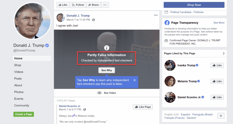 Facebook warns misleading video of Biden supporting Trump is 'partly false'