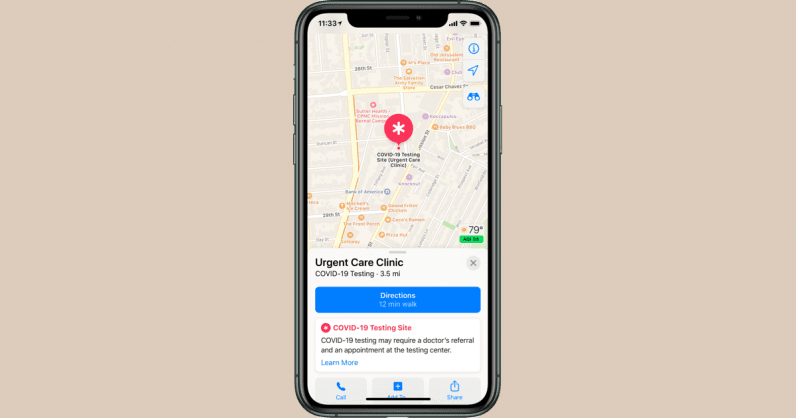 Apple Maps will soon direct you to your nearest coronavirus testing center