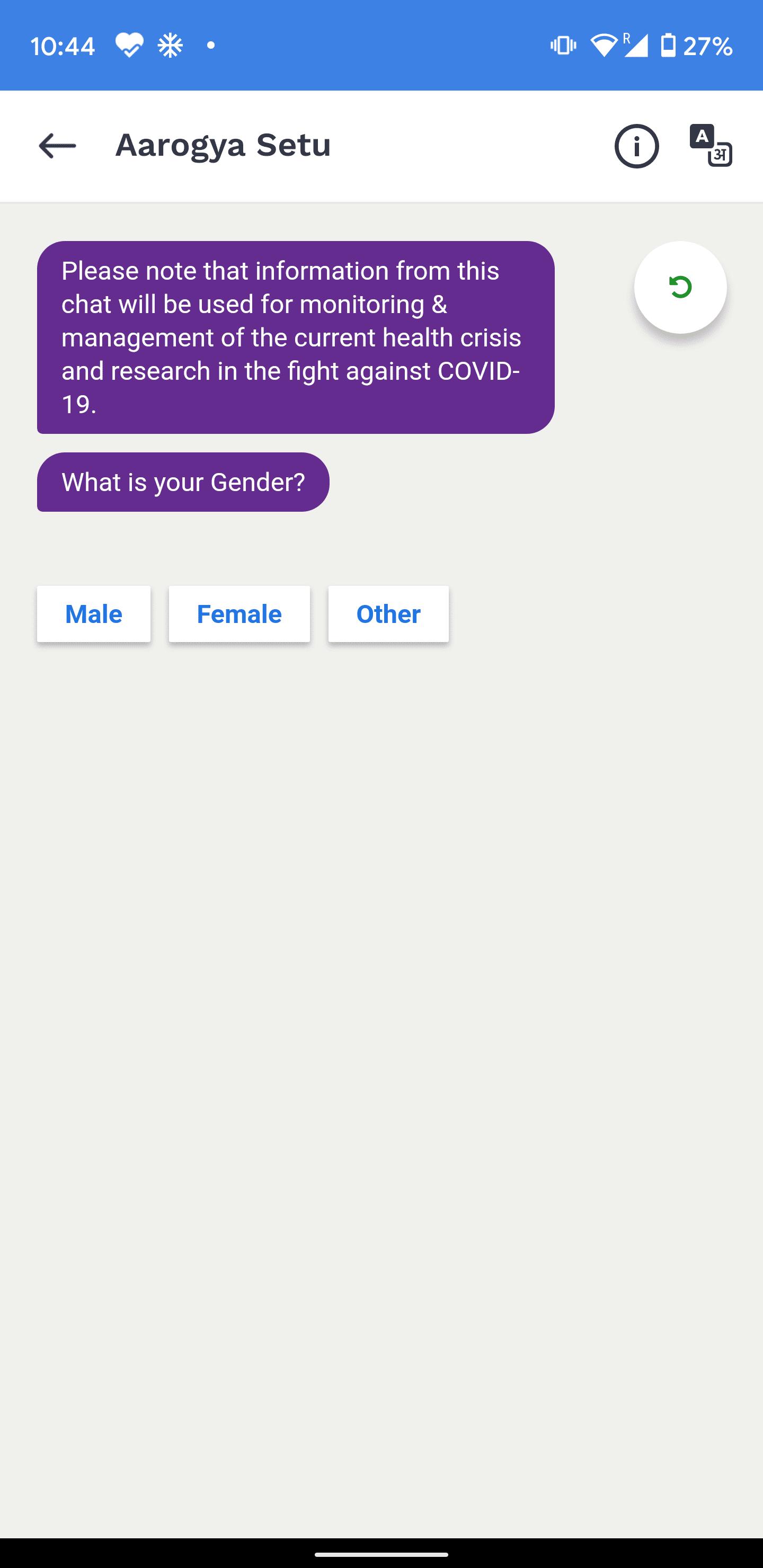 Aarogya Setu chatbot