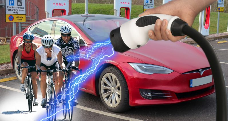 Here's how many cyclists it takes to charge a Tesla as fast as a Supercharger