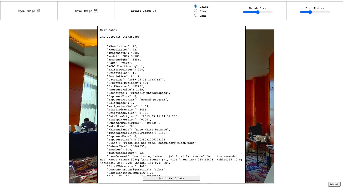 EXIF data of an image