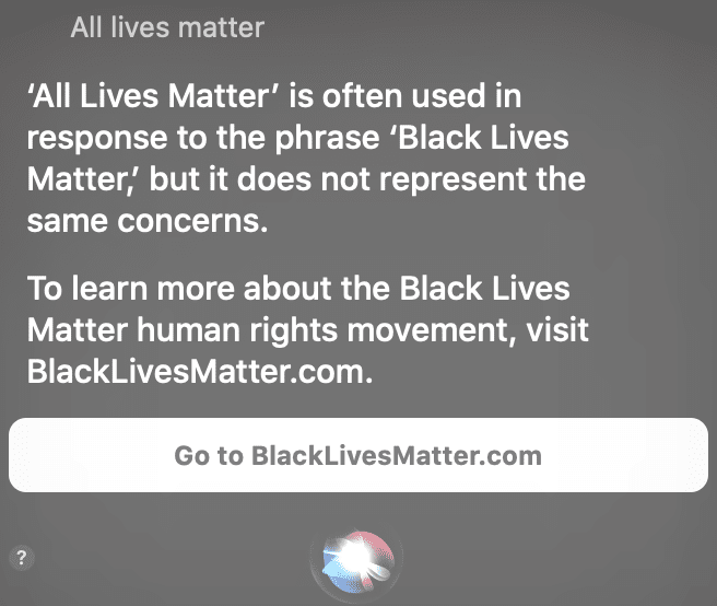 Siri to support black lives matter