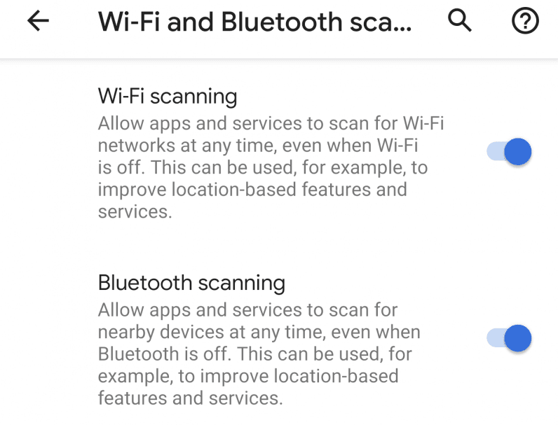Wi-Fi and Bluetooth scanning