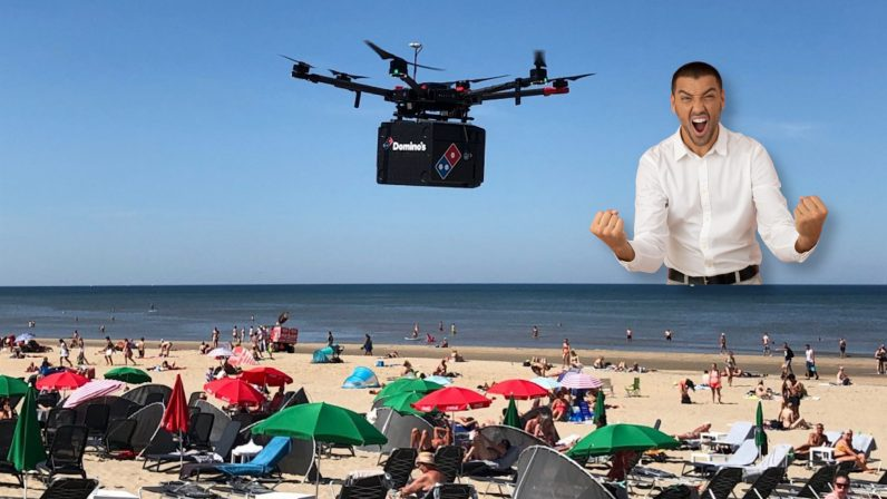 domino's, drone, pizza, delivery, future, beach, zandvoort
