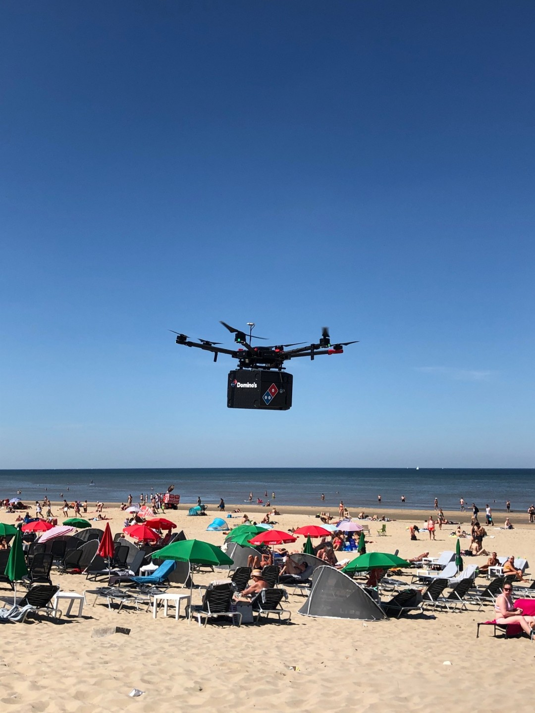 drone, delivery, pizza, domino's