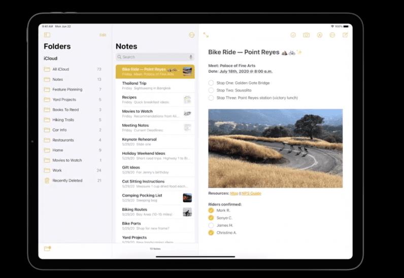 iPadOS 14 notes app