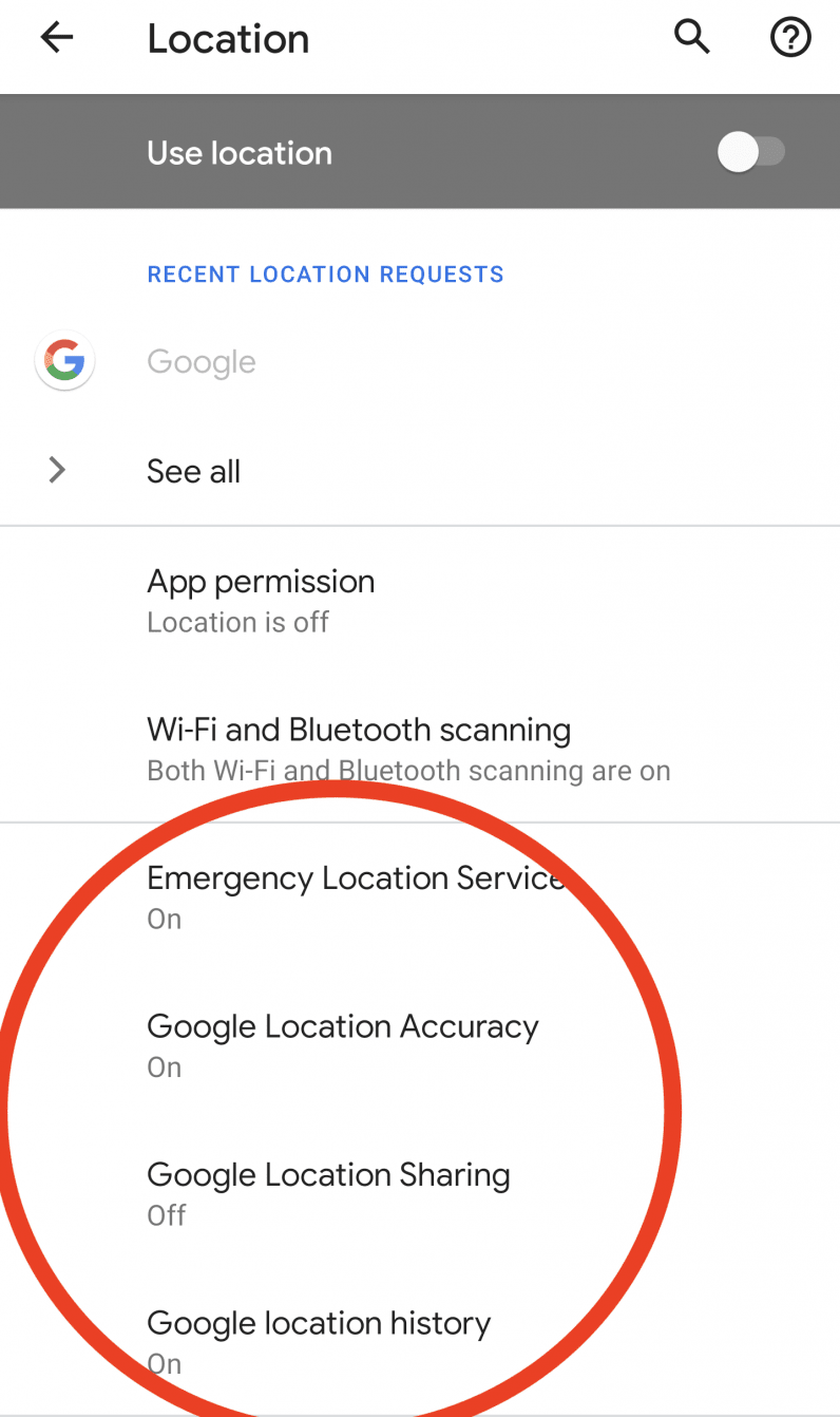 turn off location services advanced android