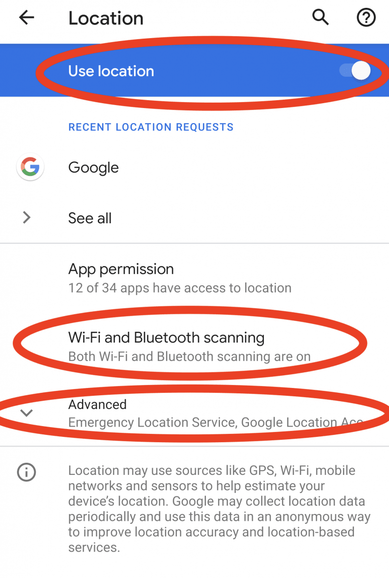 turn off location services android