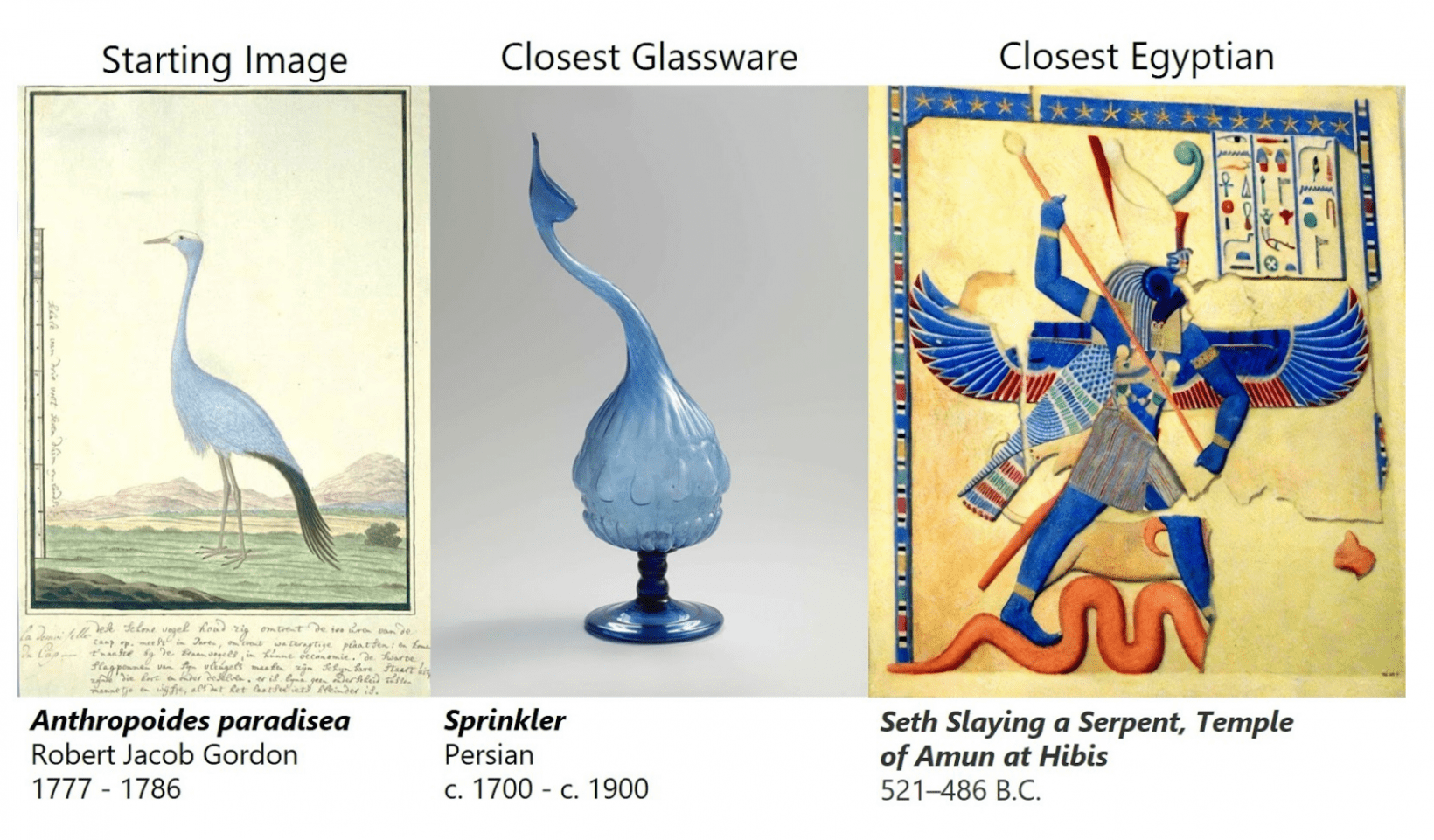 """Glassware Egyptian: """"Anthropoides paradisea"""" and """"Seth Slaying a Serpent, Temple of Amun at Hibis"""" demonstrate a shared artistic form in color and theme."""
