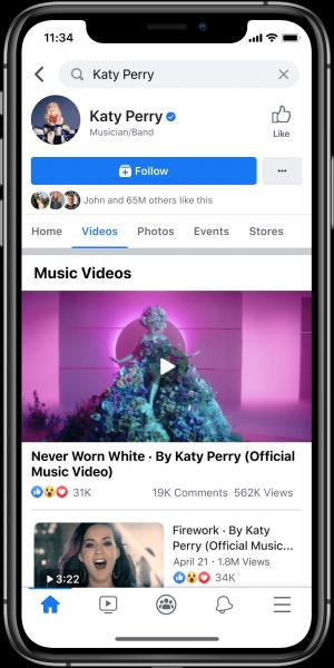 Artist page Facebook music videos