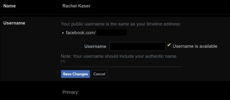 تغيير اسم المستخدم فيسبوك