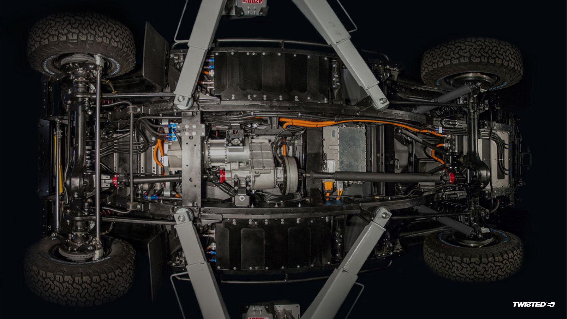 EV, transmission, underside, car, defender