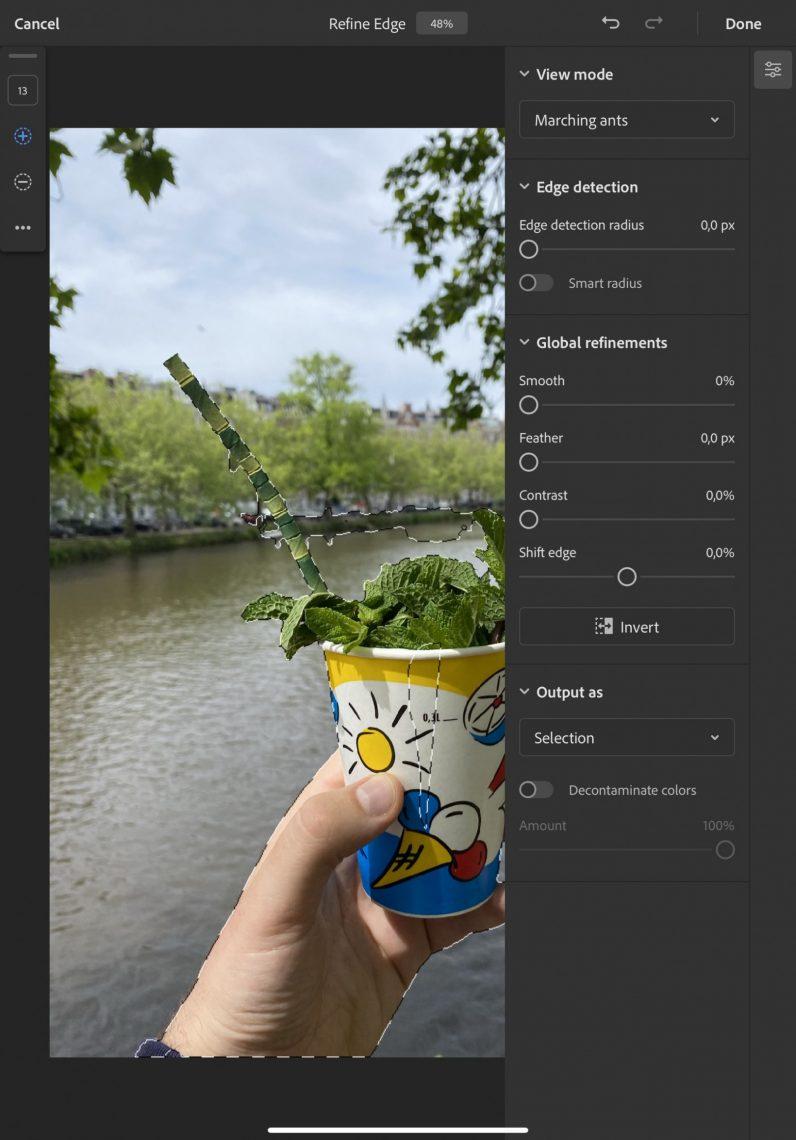 iPad Photoshop app refine edge example