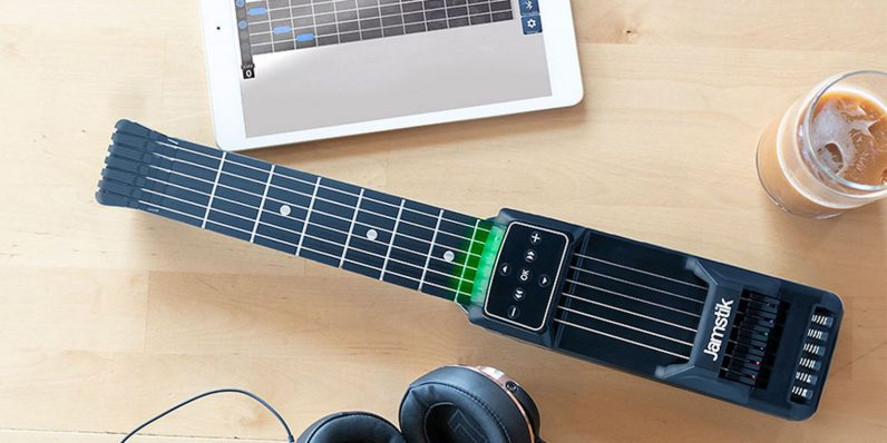 With Jamstik, you can learn to play guitar without a guitar or anyone hearing you