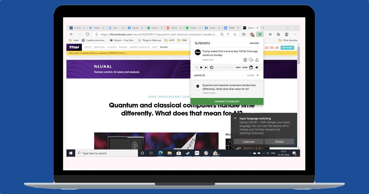 This Chrome extensions turns articles into audio playlists