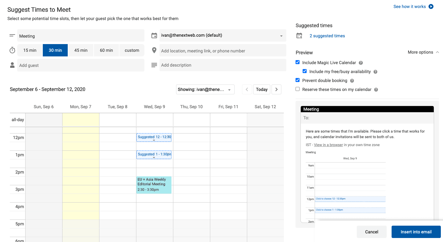 How To Easily Schedule Meetings In Gmail With Your Free Time Slots
