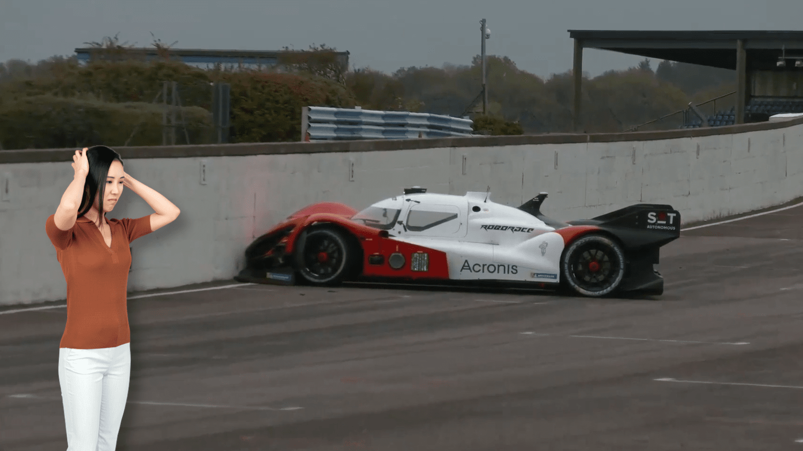Watch this self-driving race car hilariously smash into a wall