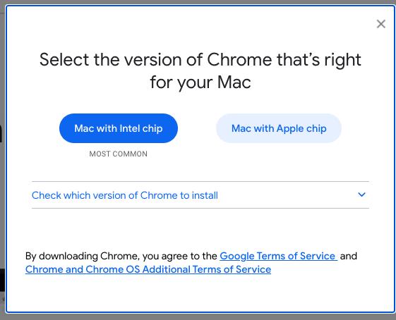 Google Chrome built for the Apple M1 chip