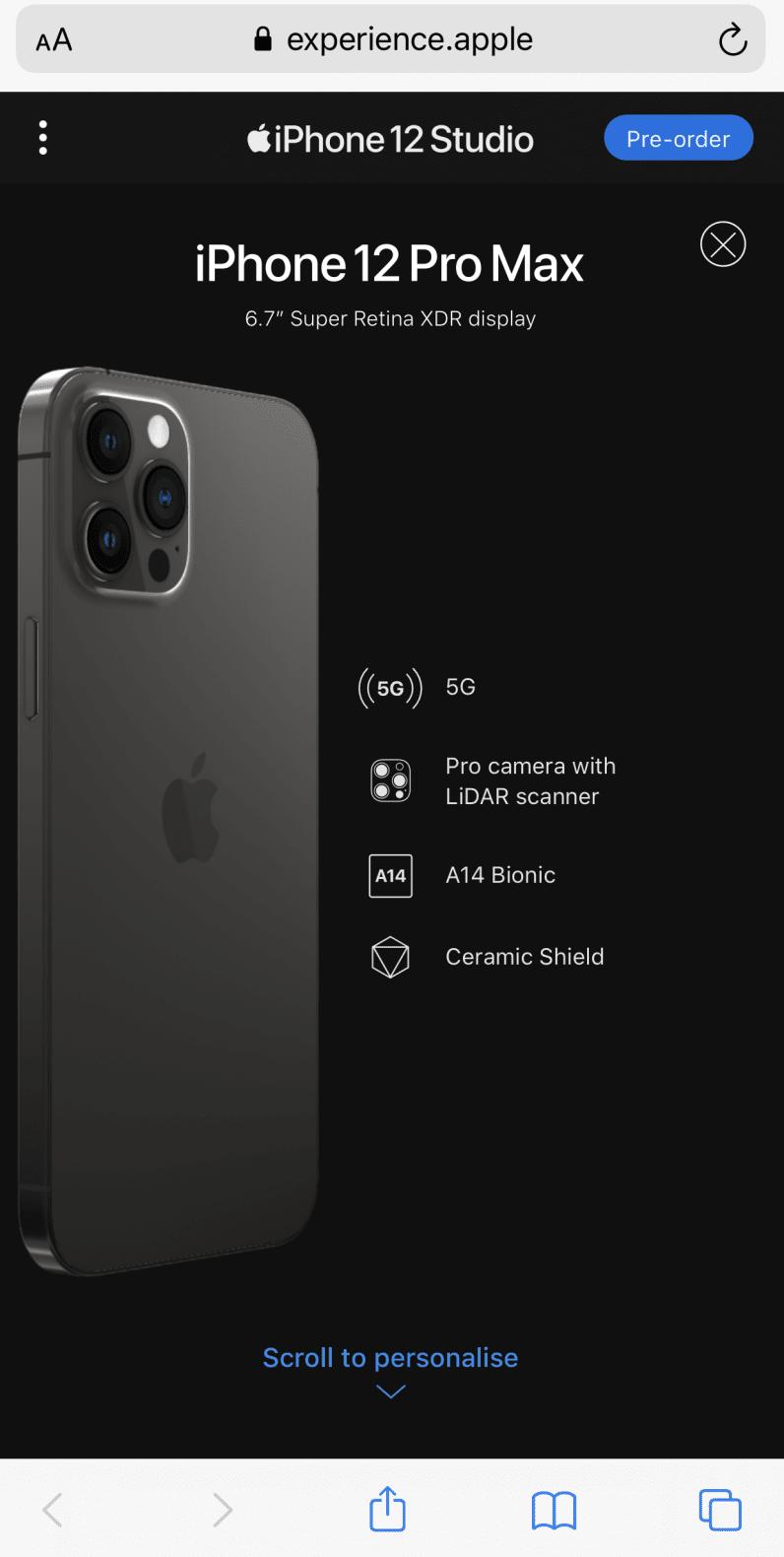 iPhone 12 studio select screen