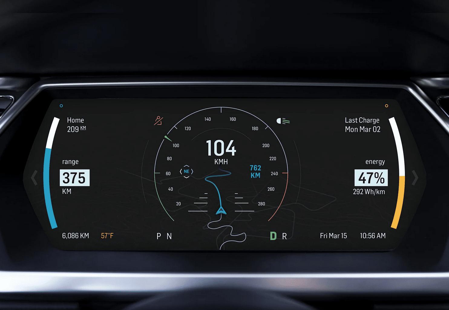 ev, car, dashboard, concept