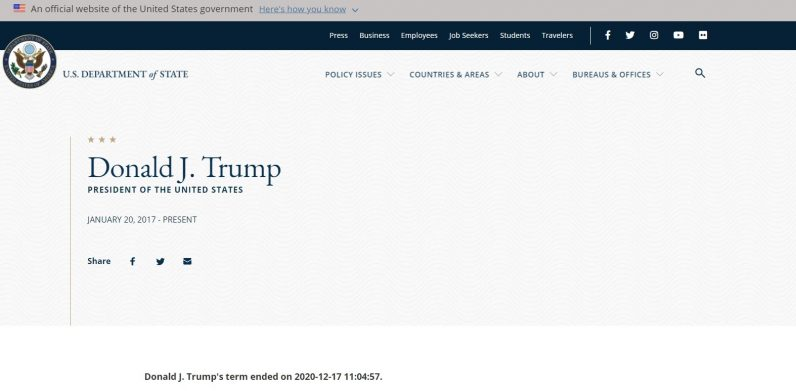 Here's why the US State Department website says Donald Trump's 'term ended' on ...