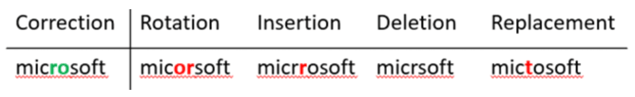 Microsoft designed noise functions to generate common errors of rotation, insertion, deletion, and replacement.