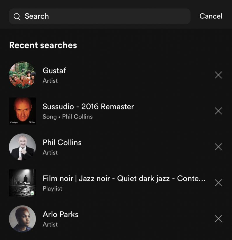 Spotify searches on mobile not syncing across devices