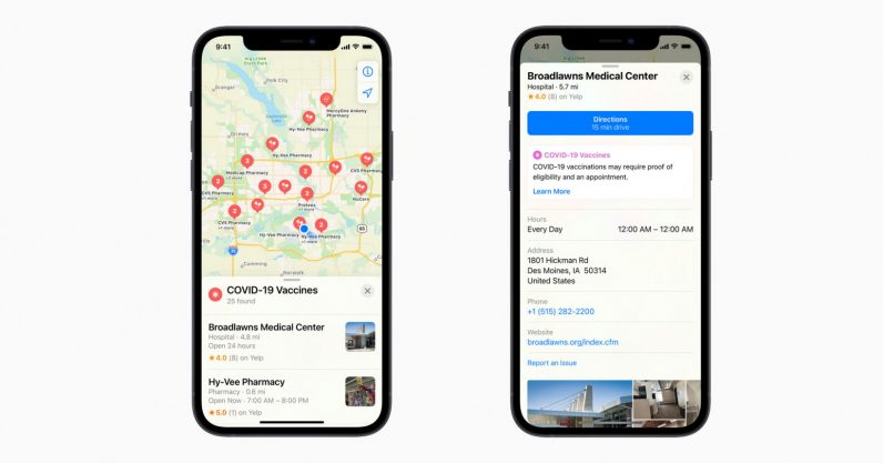 Apple Maps and Siri now show you where to get vaccinated in the US
