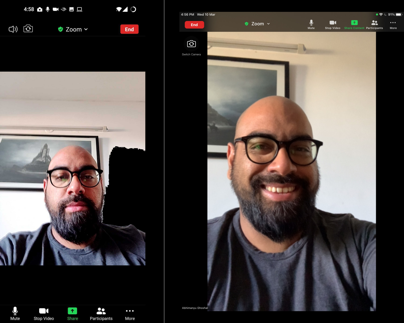 How I usually hold my phone in hand for video calls (left) vs How I can take calls on my iPad at a better angle (right)