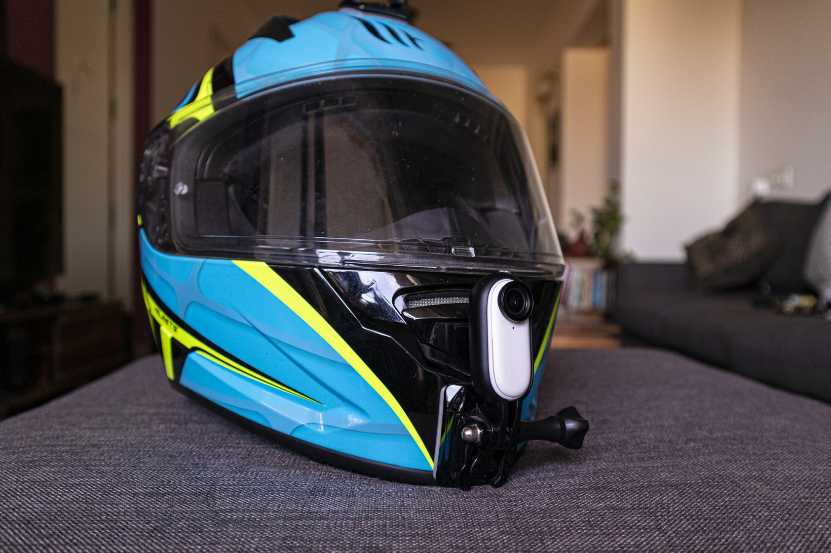 The Insta360 Go 2 fits securely on helmets with optional motorcycle mounts