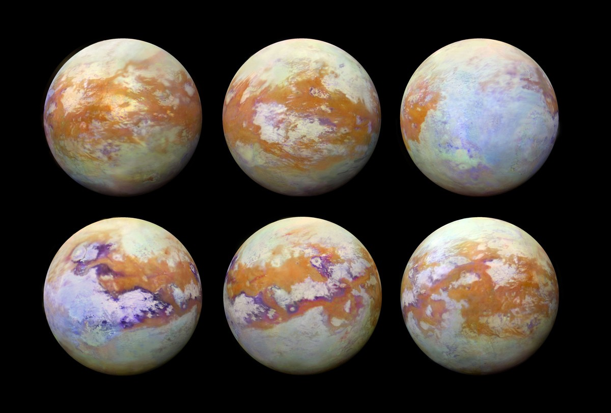The oceans of Titan, normally hidden an an eternal cloud layer, can be seen in this infrared composite image, seen by the Cassini spacecraft.