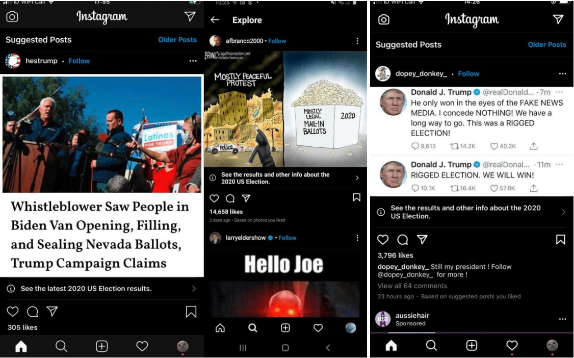 elections that Instagram had flagged as election-related posts.