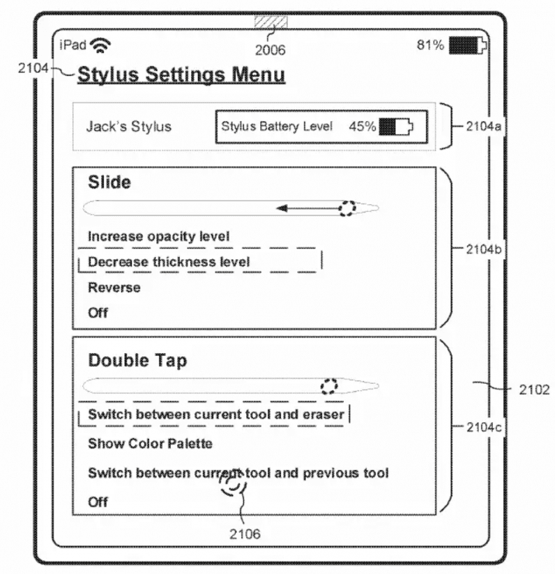 Apple Pencil slide feature patent drawing settings menu