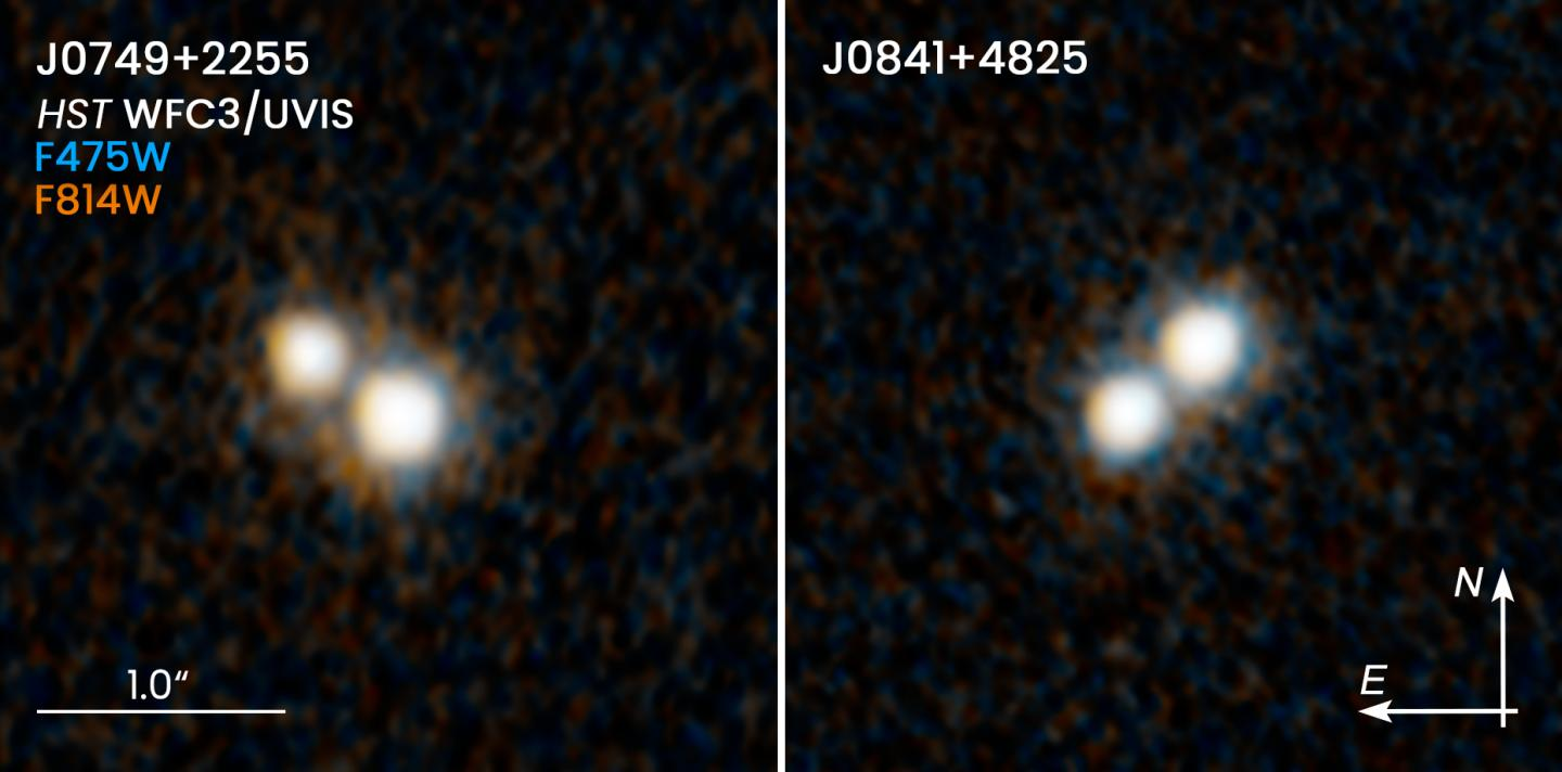The two quasar pairs examined in this study, as seen in visible light by the Hubble Space Telescope.