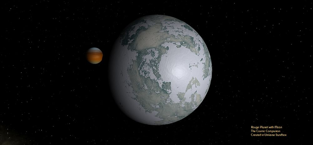 Even rouge planets, like those that might be found using the Roman Telescope, might be accompanied by moons, like this icy satellite pictured here, orbiting a planet larger than Neptune.
