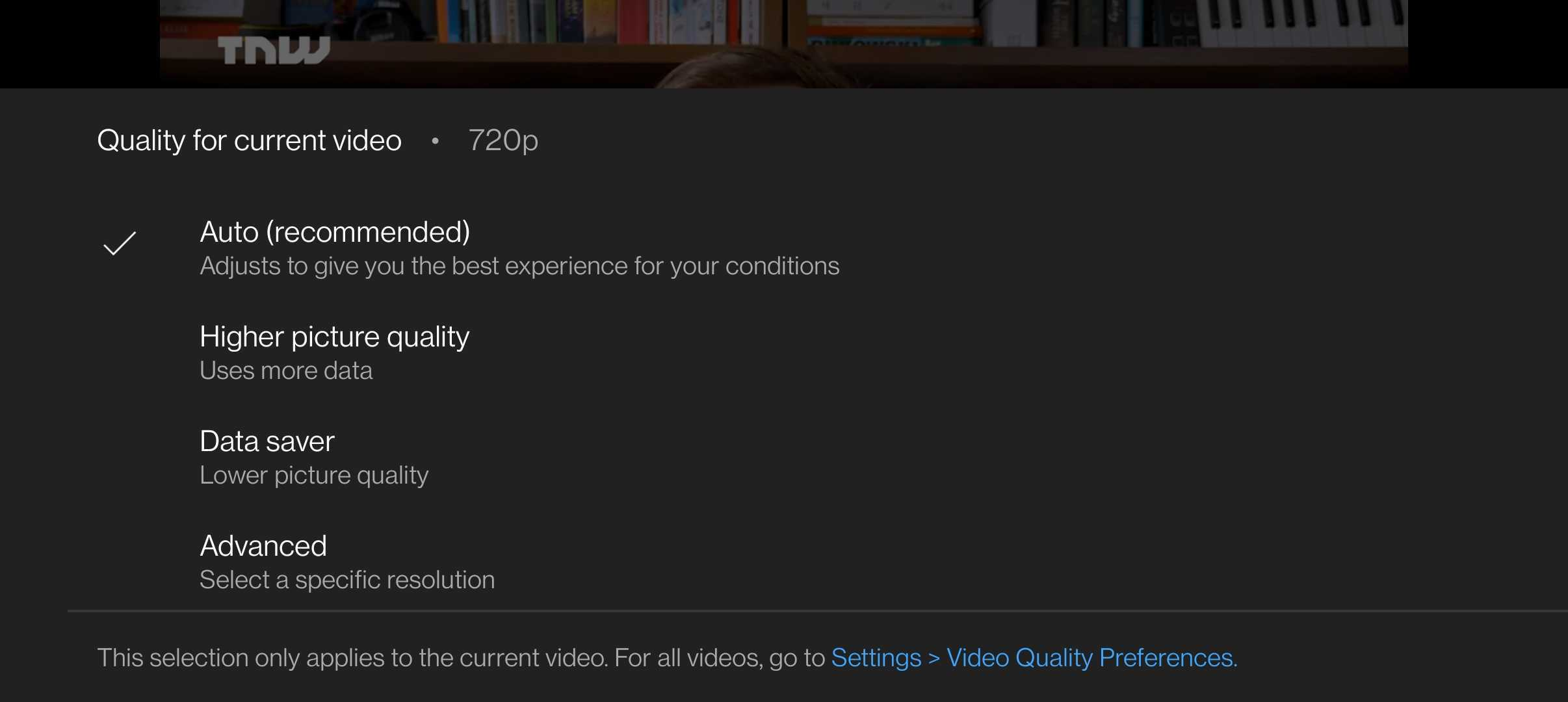 YouTube's new options for adjusting video playback resolution
