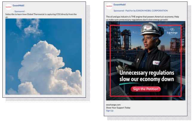 The ad on the left was shown to Facebook users who engage with liberal political content, while the one on the right was shown to those enage with conservative political content