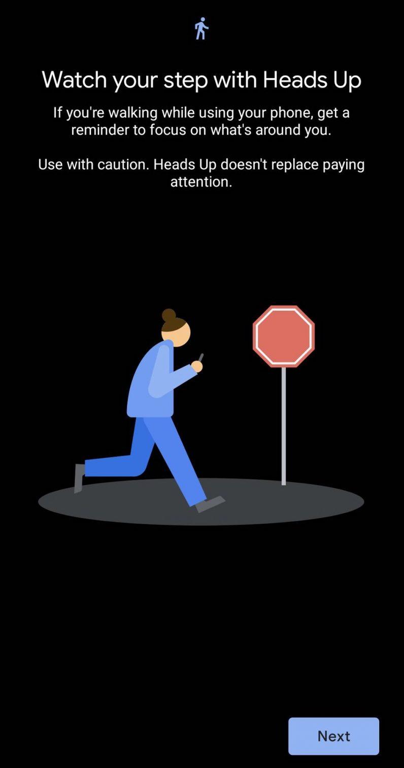 google digital wellbeing heads up phone walking