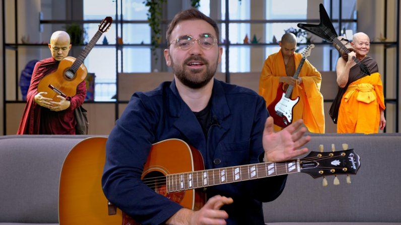 aprender a tocar la guitarra mejor que los monjes de meditación