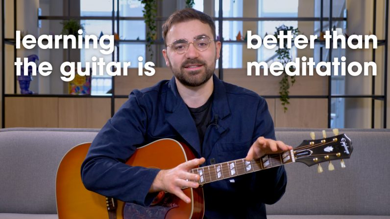 learning guitar is better than meditation