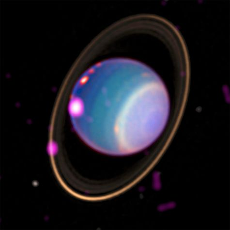 A composite image of Uranus showing X-ray emissions