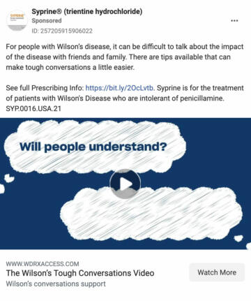 """Ad shown to users with an interest in """"genetic disorder."""""""