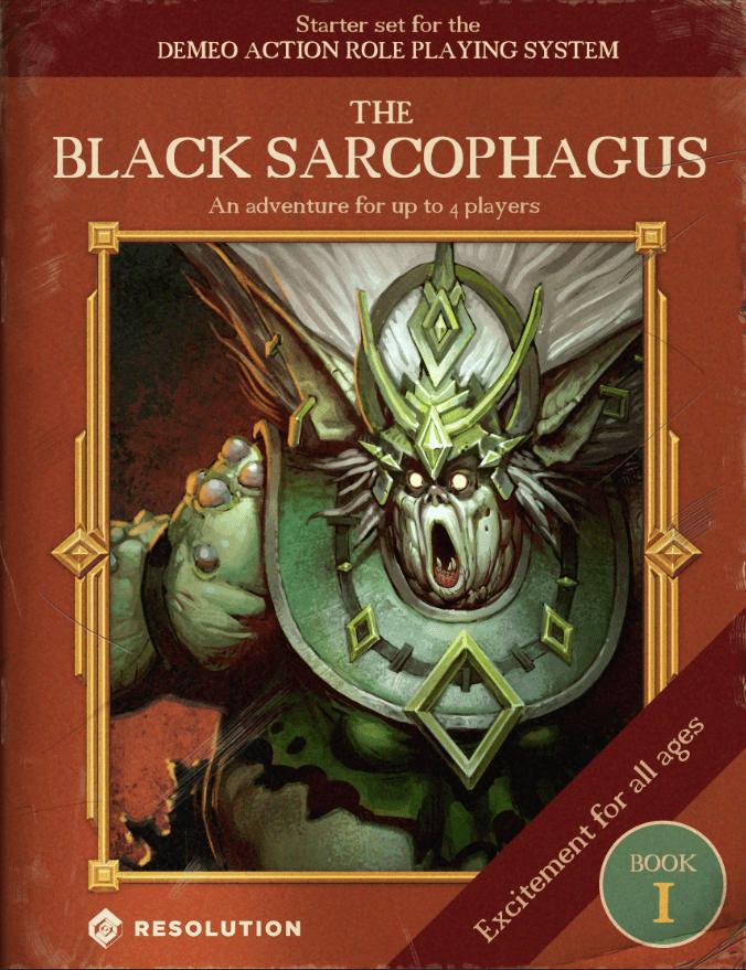 Una imagen que anuncia el contenido incluido del juego, diseñada para parecerse a la portada de un libro de rol antiguo.