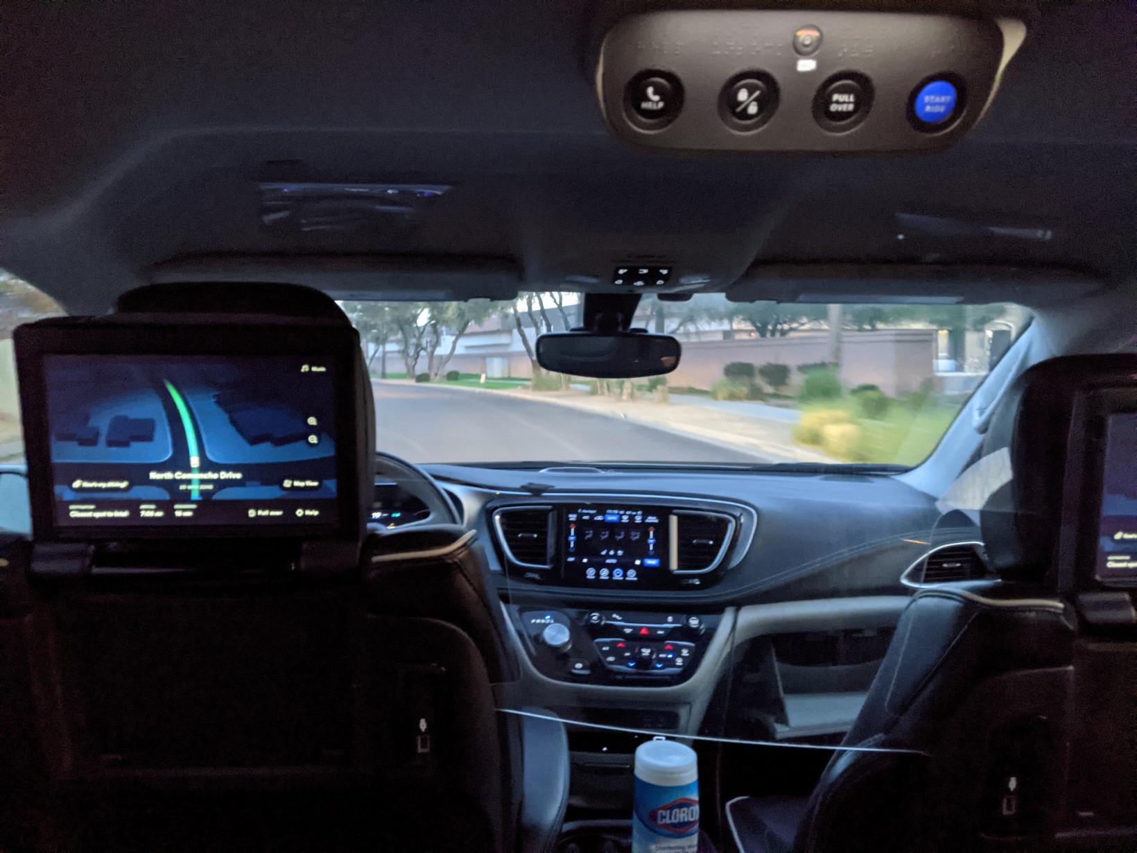 jj ricks, waymo, screen, passenger, self driving